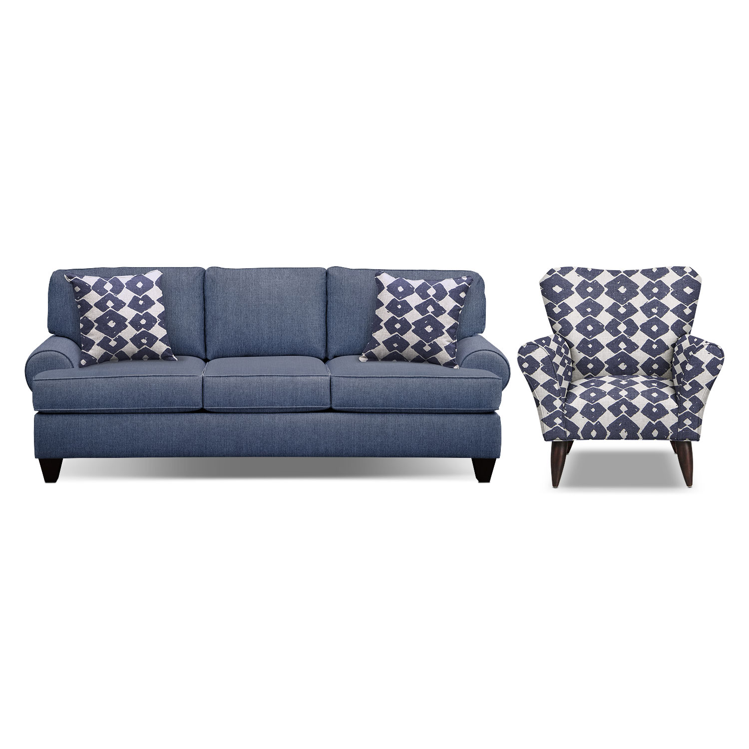 "Living Room Furniture - Bailey Blue 91"" Innerspring Sleeper Sofa and Accent Chair Set"