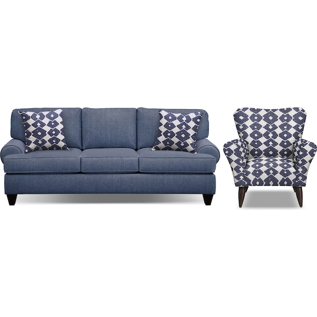 "Living Room Furniture - Bailey Blue 91"" Memory Foam Sleeper Sofa and Accent Chair Set"