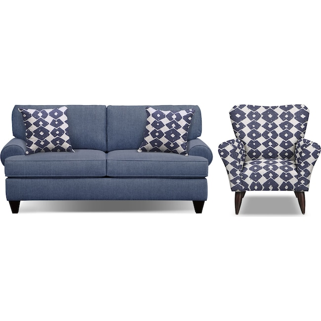 "Living Room Furniture - Bailey Blue 79"" Innerspring Sleeper Sofa and Accent Chair Set"