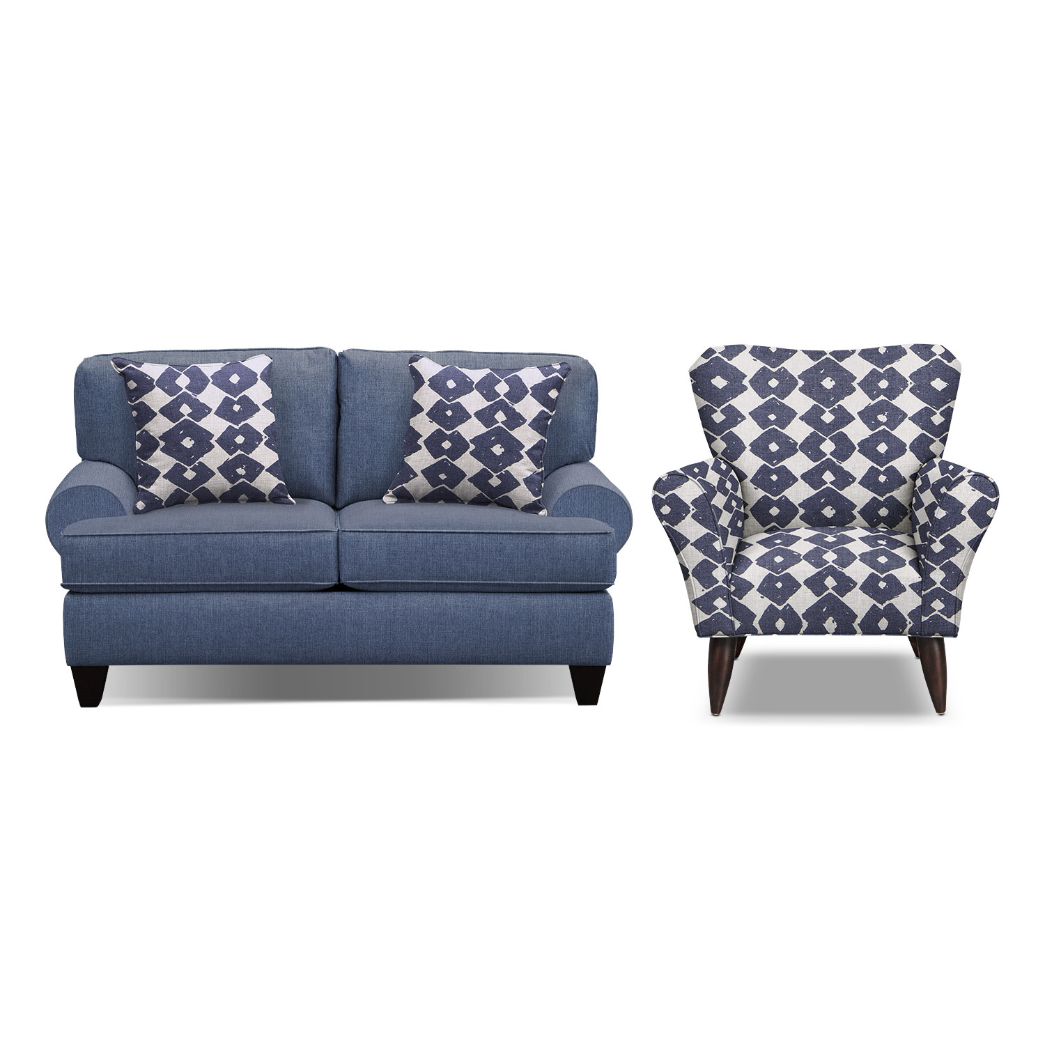 "Living Room Furniture - Bailey Blue 67"" Memory Foam Sleeper Sofa and Accent Chair Set"