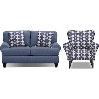 "Bailey Blue 67"" Innerspring Sleeper Sofa and Accent Chair Set"
