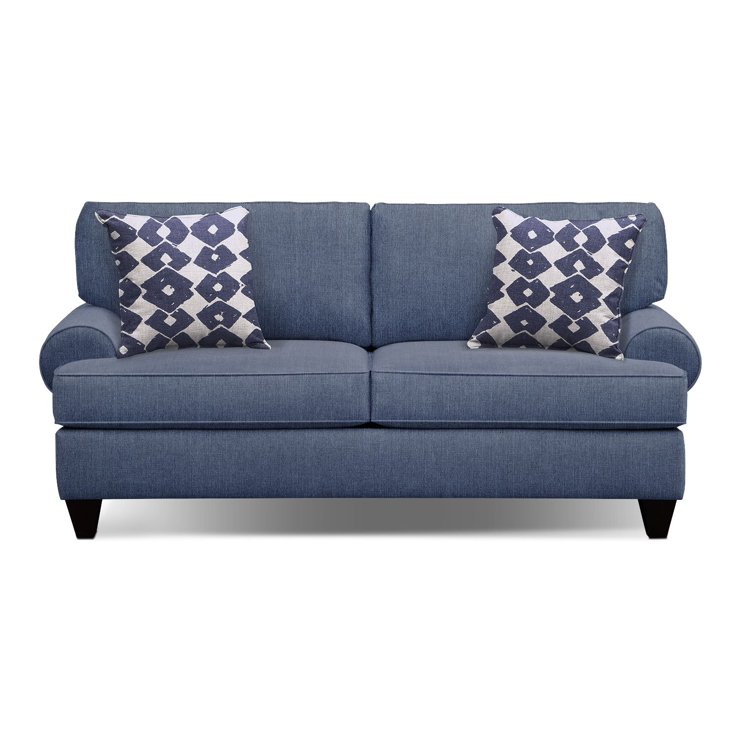 "Living Room Furniture - Bailey Blue 79"" Innerspring Sleeper Sofa"