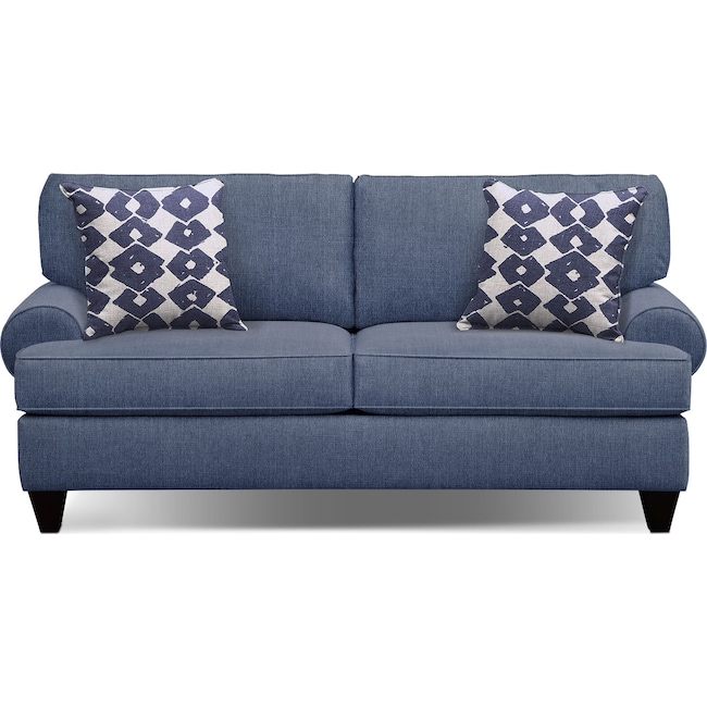 "Living Room Furniture - Bailey Blue 79"" Memory Foam Sleeper Sofa"