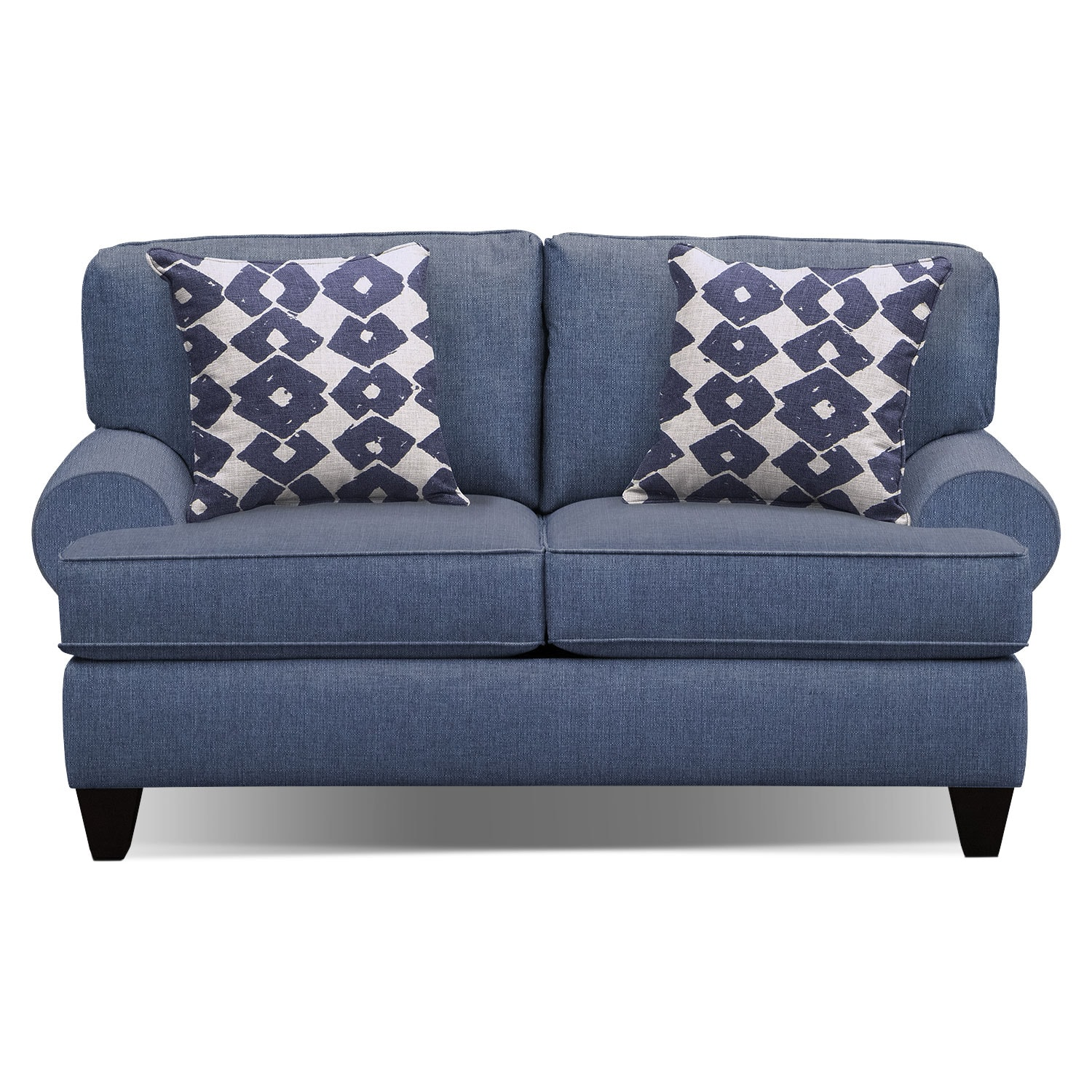 "Living Room Furniture - Bailey Blue 67"" Memory Foam Sleeper Sofa"