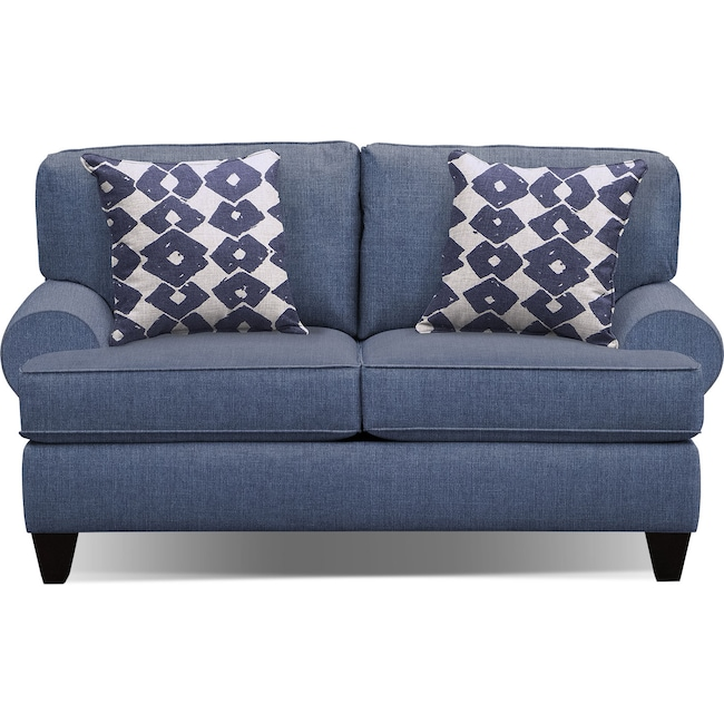 "Living Room Furniture - Bailey Blue 67"" Innerspring Sleeper Sofa"