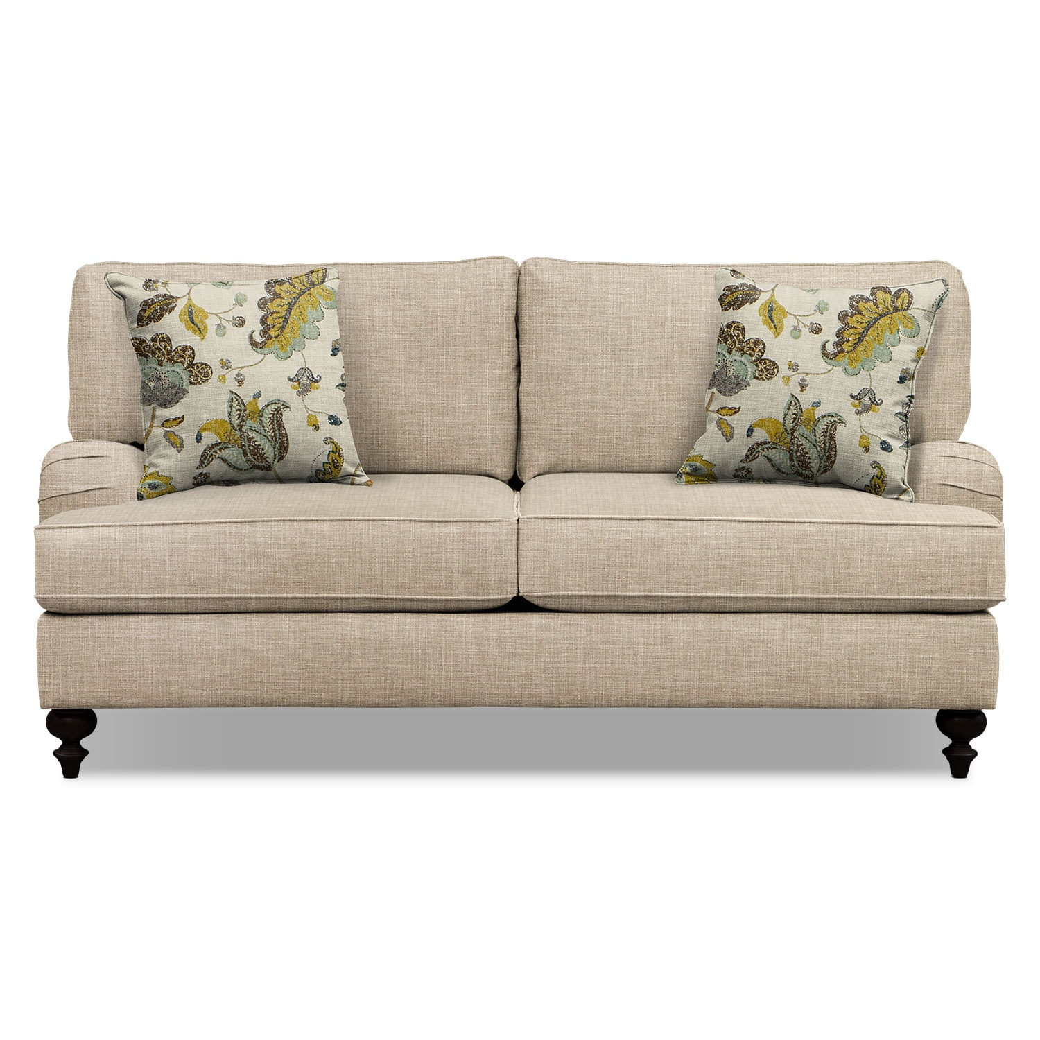 "Living Room Furniture - Avery Taupe 74"" Memory Foam Sleeper Sofa"