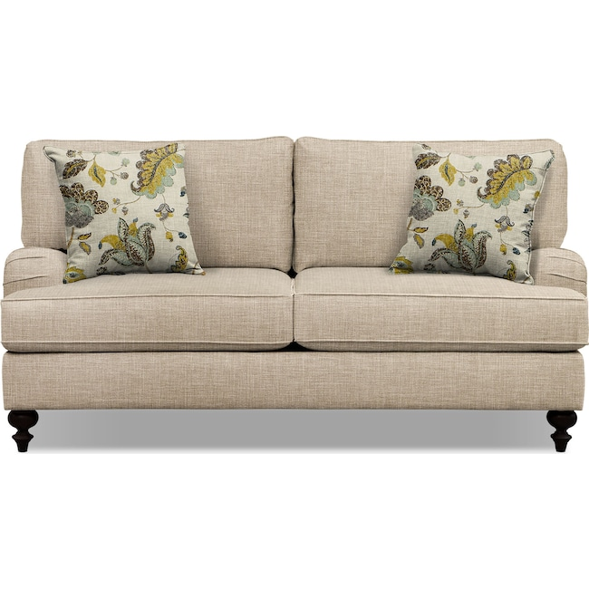 "Living Room Furniture - Avery Taupe 74"" Innerspring Sleeper Sofa"