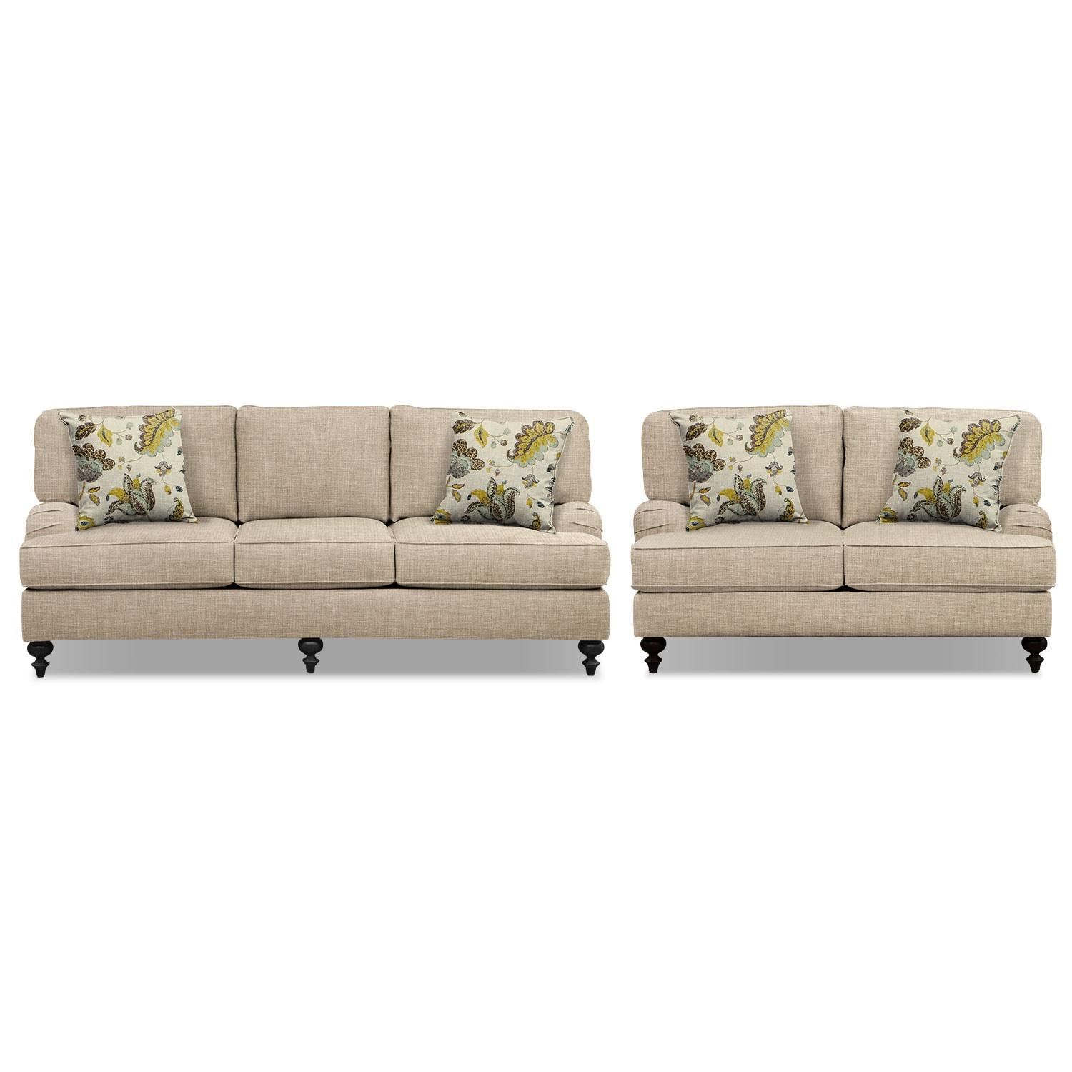 "Living Room Furniture - Avery Taupe 86"" Sofa and 62"" Sofa Set"