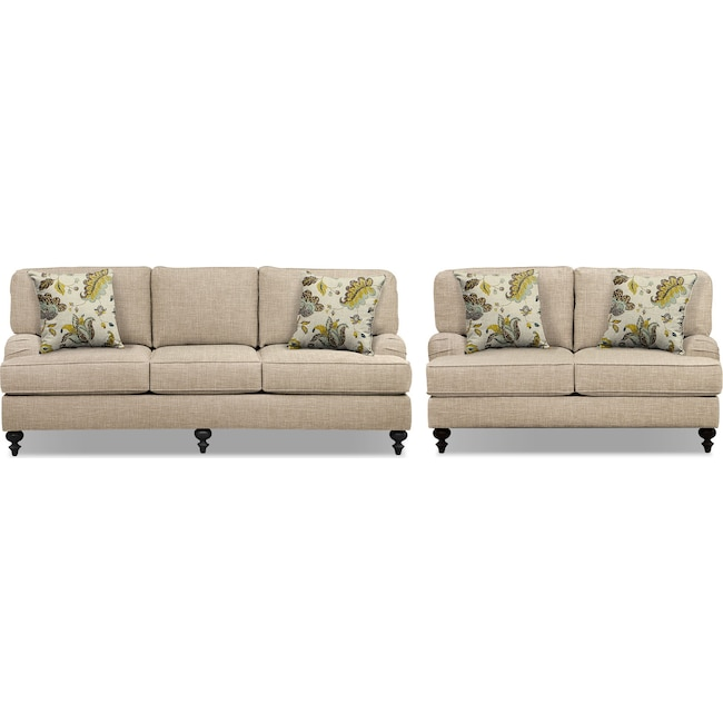 "Living Room Furniture - Avery Taupe 86"" Innerspring Sleeper Sofa and 62"" Sofa Set"