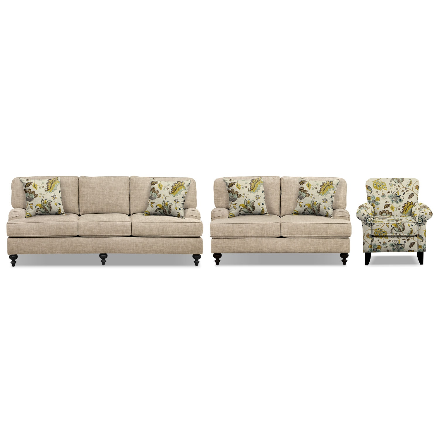 "Living Room Furniture - Avery Taupe 86"" Innerspring Sleeper Sofa, 62"" Sofa and Accent Chair Set"