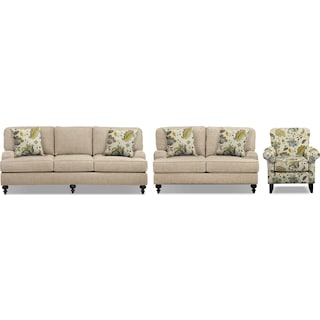 "Avery Taupe 86"" Memory Foam Sleeper Sofa, 62"" Sofa and Accent Chair Set"