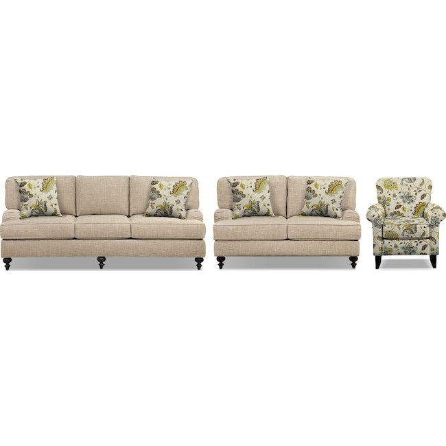 """Living Room Furniture - Avery Taupe 86"""" Innerspring Sleeper Sofa, 62"""" Sofa and Accent Chair Set"""