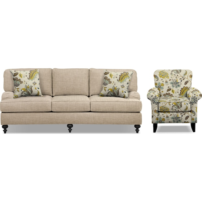 "Living Room Furniture - Avery Taupe 86"" Memory Foam Sleeper Sofa and Accent Chair Set"
