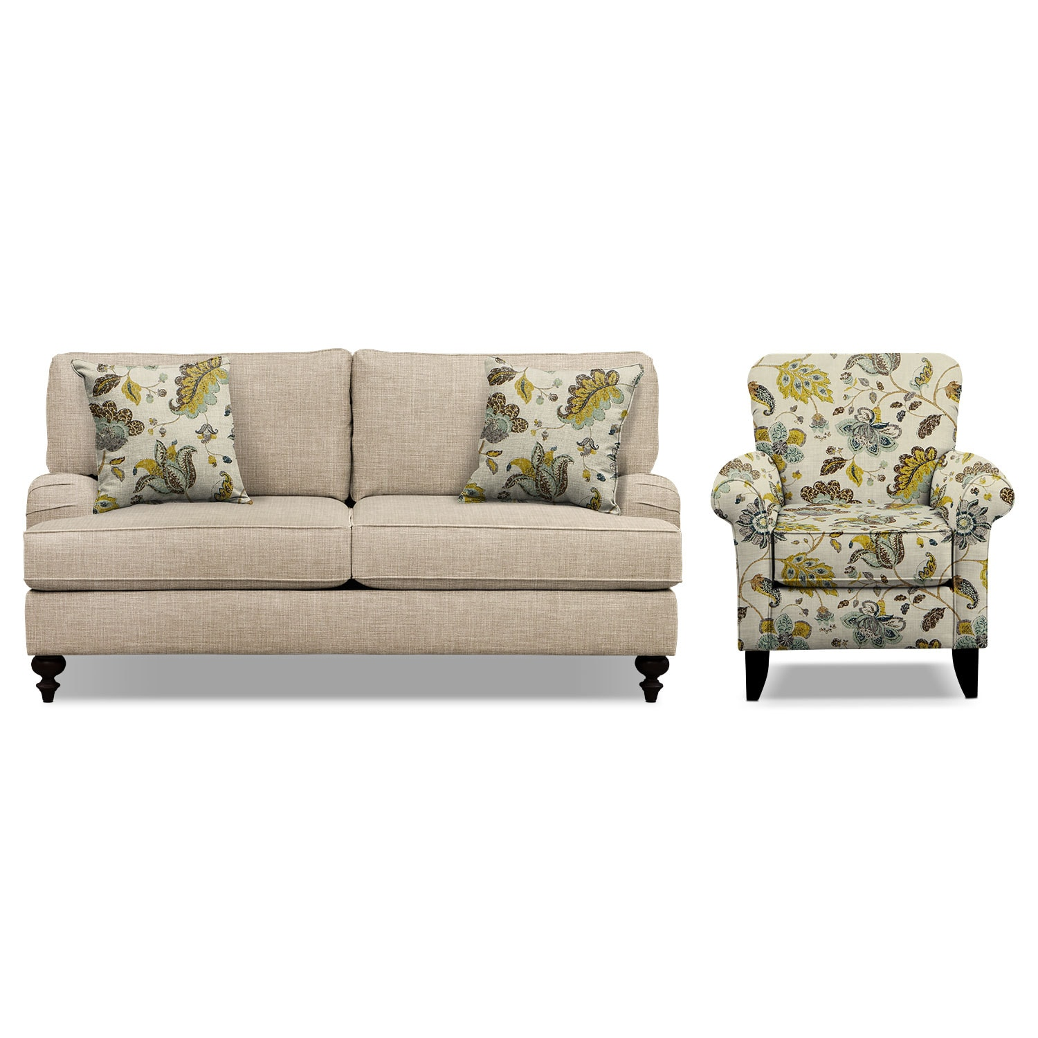 """Avery Taupe 74"""" Memory Foam Sleeper Sofa and Accent Chair Set"""