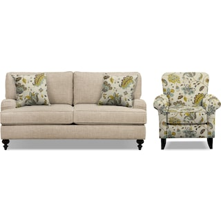 "Avery Taupe 74"" Innerspring Sleeper Sofa and Accent Chair Set"