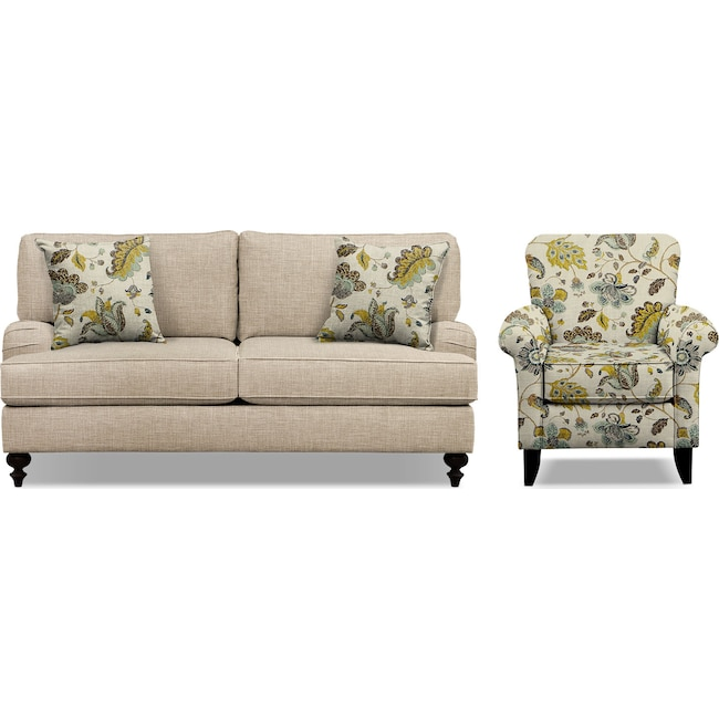 "Living Room Furniture - Avery Taupe 74"" Memory Foam Sleeper Sofa and Accent Chair Set"
