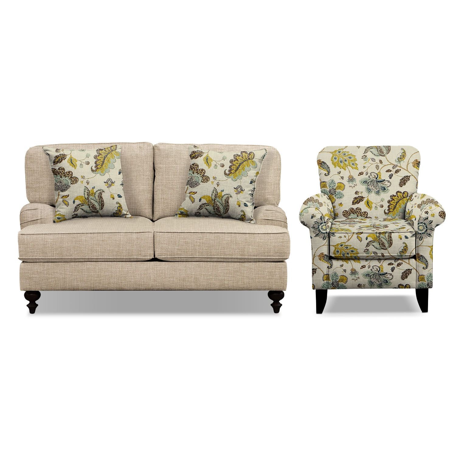 "Living Room Furniture - Avery Taupe 62"" Memory Foam Sleeper Sofa and Accent Chair Set"