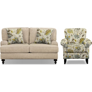 "Avery Taupe 62"" Innerspring Sleeper Sofa and Accent Chair Set"