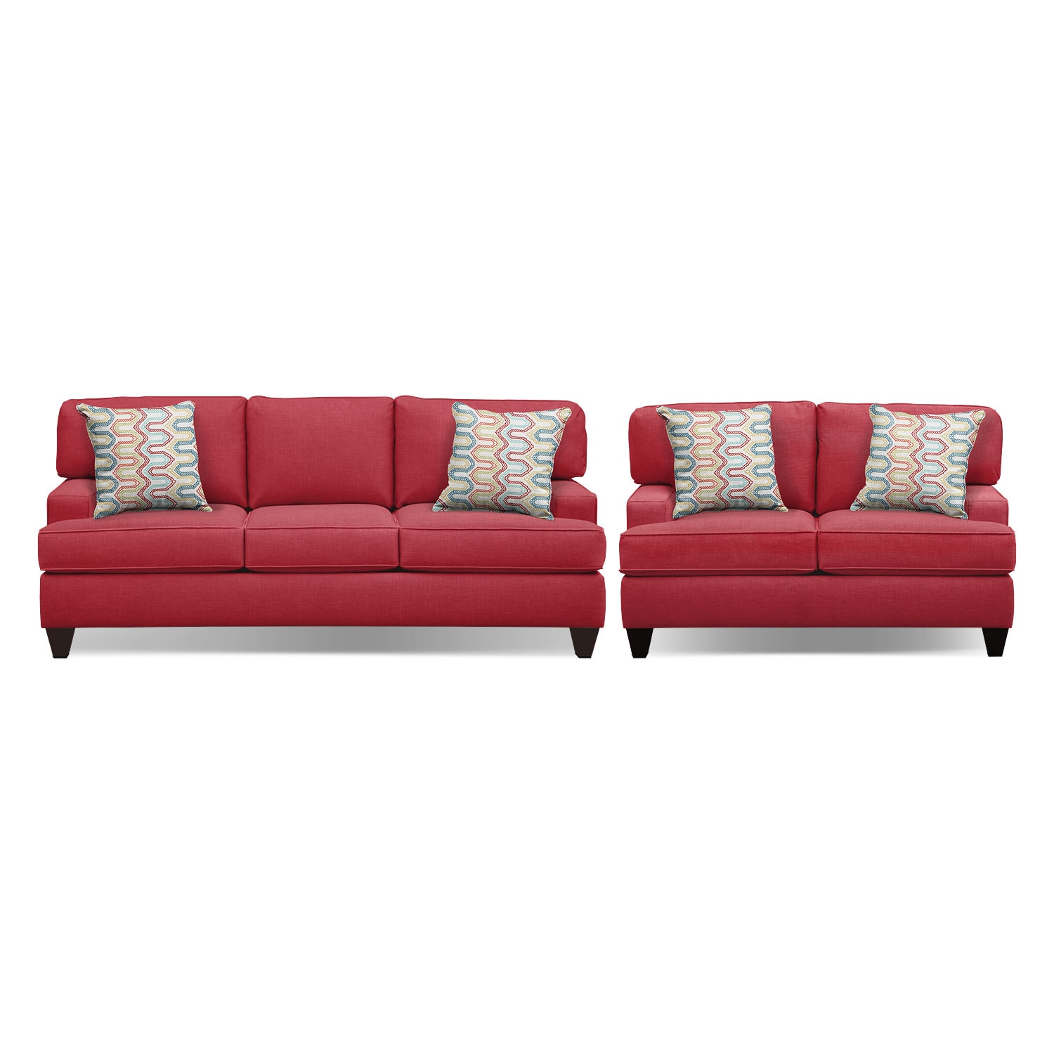 "Living Room Furniture - Conner Red 87"" Memory Foam Sleeper Sofa and 63"" Sofa Set"