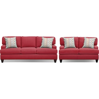 "Conner Red 87"" Memory Foam Sleeper Sofa and 63"" Sofa Set"
