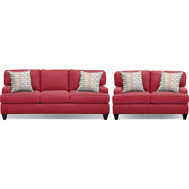 "Living Room Furniture - Conner Red 87"" Sofa and 63"" Sofa Set"