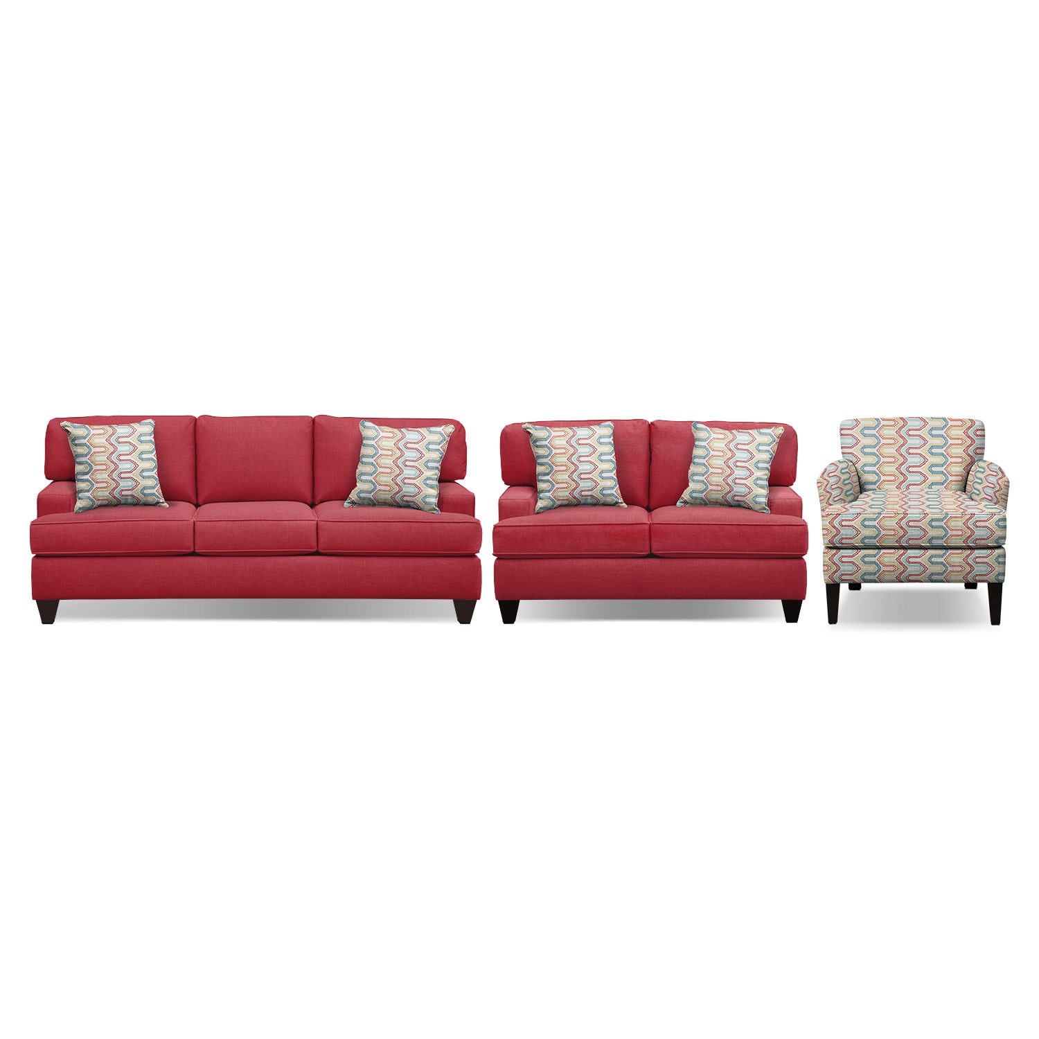 "Conner Red 87"" Innerspring Sleeper Sofa, 63"" Sofa and Accent Chair Set"