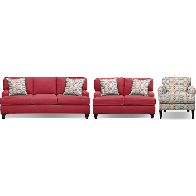 "Living Room Furniture - Conner Red 87"" Innerspring Sleeper Sofa, 63"" Sofa and Accent Chair Set"