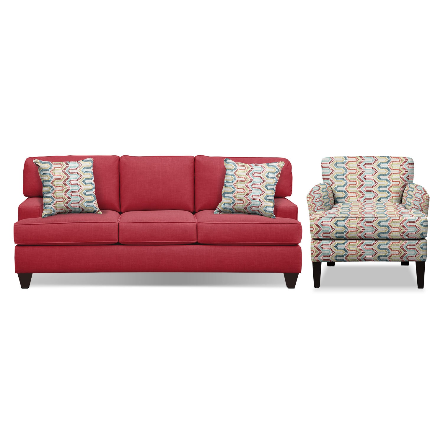 "Conner Red 87"" Sofa and Accent Chair Set"