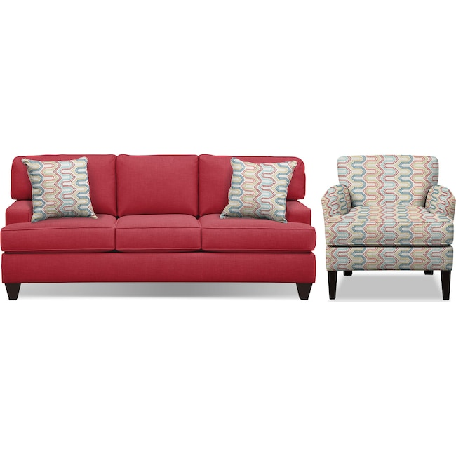 "Living Room Furniture - Conner Red 87"" Sofa and Accent Chair Set"