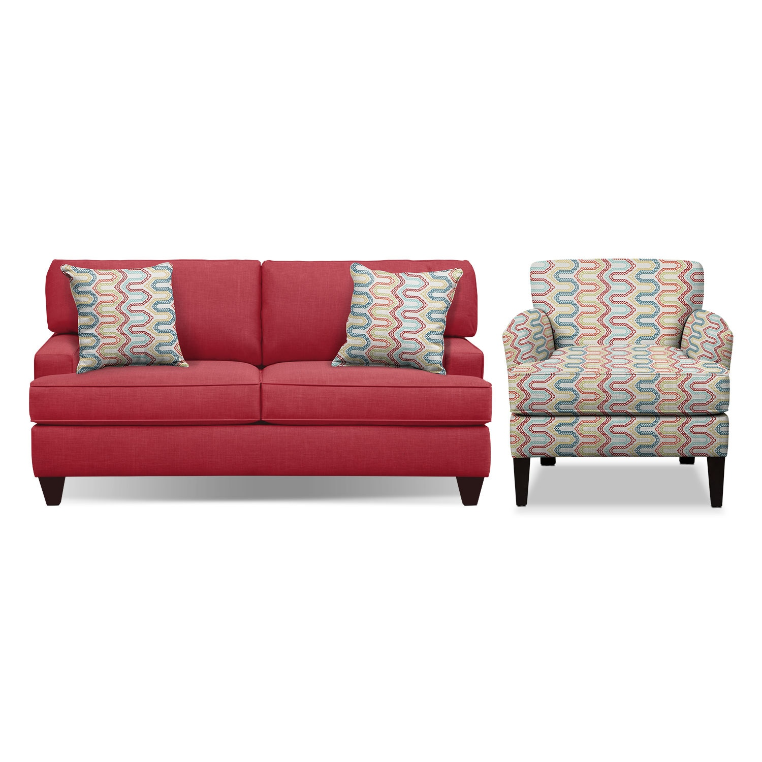 "Conner Red 75"" Sofa and Accent Chair Set"
