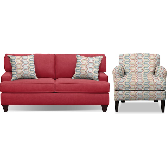 "Living Room Furniture - Conner Red 75"" Memory Foam Sleeper Sofa and Accent Chair Set"