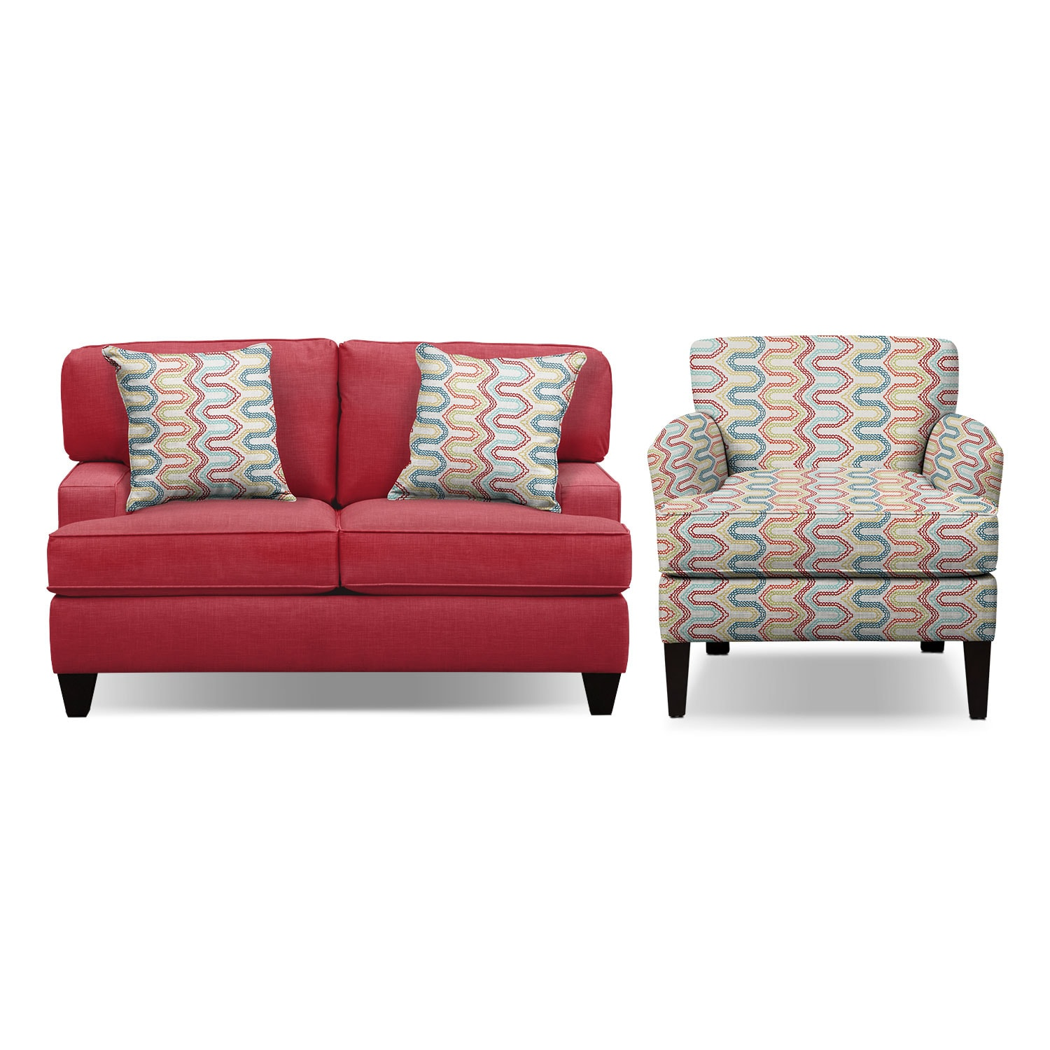 "Living Room Furniture - Conner Red 63"" Sofa and Accent Chair Set"