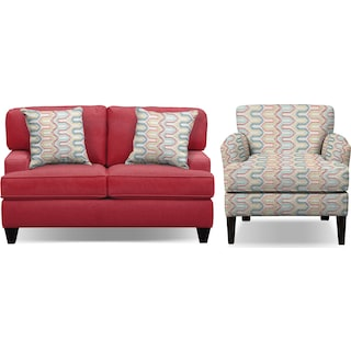 "Conner Red 75"" Innerspring Sleeper Sofa and Accent Chair Set"