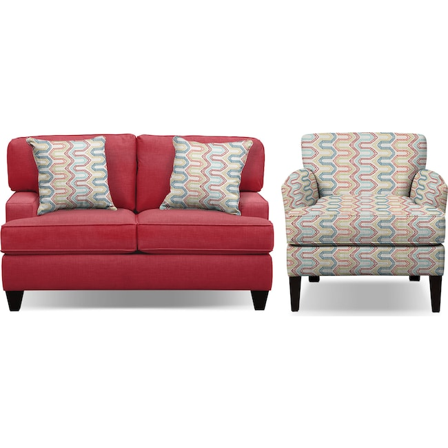 "Living Room Furniture - Conner Red 63"" Memory Foam Sleeper Sofa and Accent Chair Set"