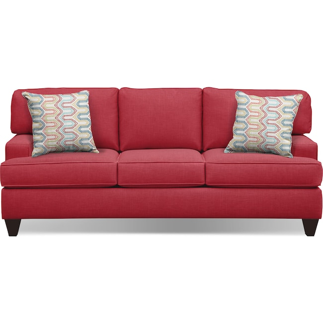 "Living Room Furniture - Conner Red 87"" Memory Foam Sleeper Sofa"