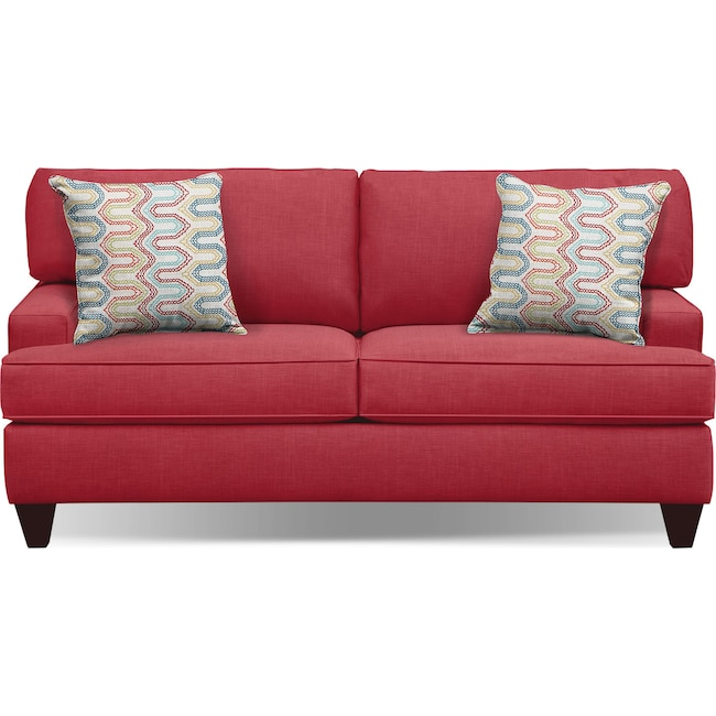 "Living Room Furniture - Conner Red 75"" Innerspring Sleeper Sofa"