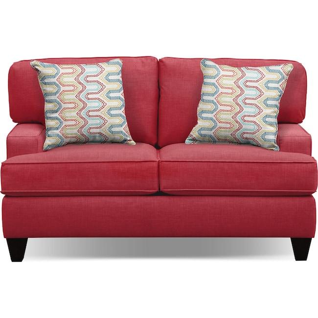 "Living Room Furniture - Conner Red 63"" Memory Foam Sleeper Sofa"
