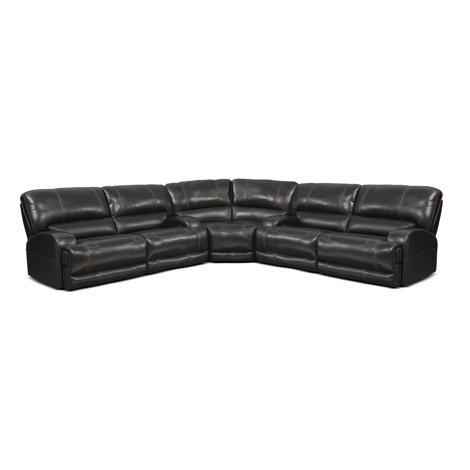 Living Room Furniture - Barton Black 3 Pc. Power Reclining Sectional
