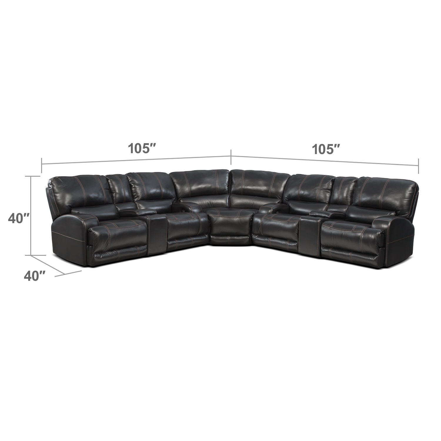 Living Room Furniture - Barton 3-Piece Power Reclining Sectional with 2 Consoles - Black