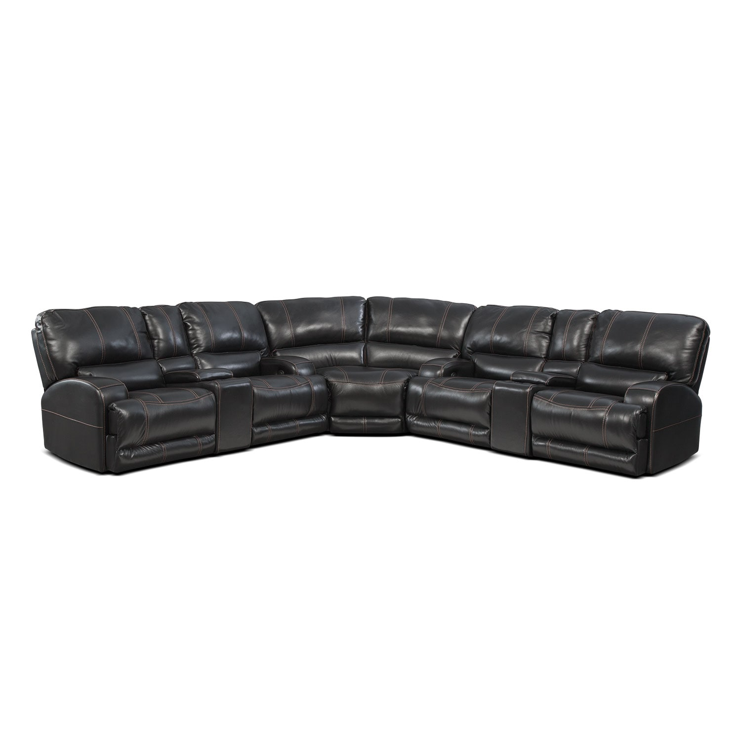 Barton 3-Piece Power Reclining Sectional with 2 Consoles - Black