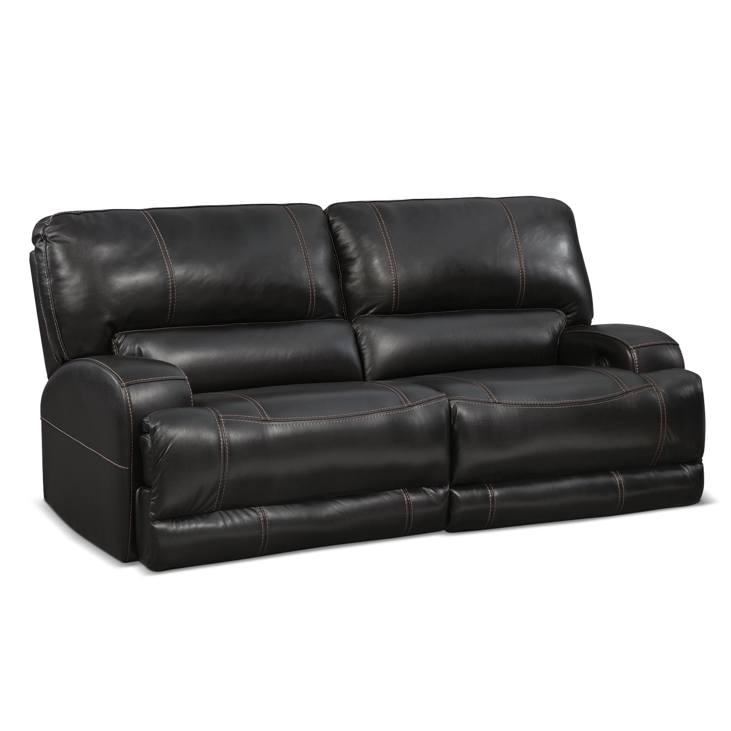 Living Room Furniture - Barton Power Power Reclining Sofa - Black