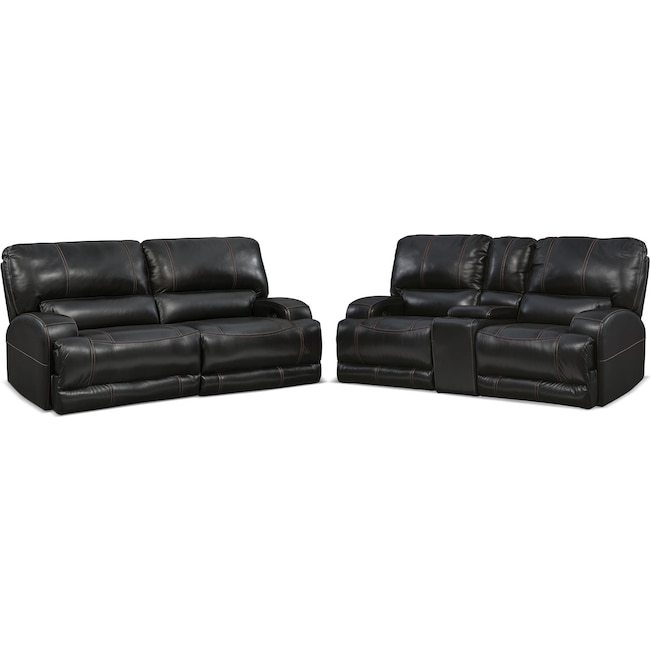 Living Room Furniture - Barton Power Reclining Sofa and Reclining Loveseat Set - Black