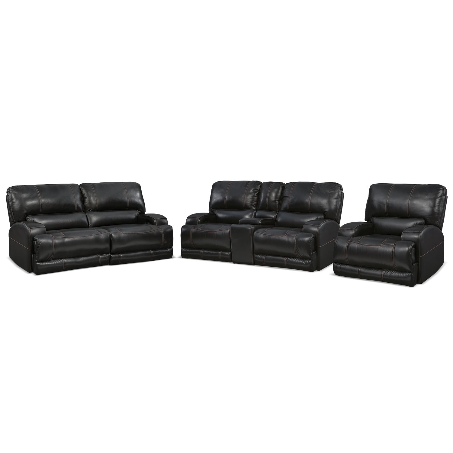 Barton Power Reclining Sofa, Reclining Loveseat and Recliner Set - Black
