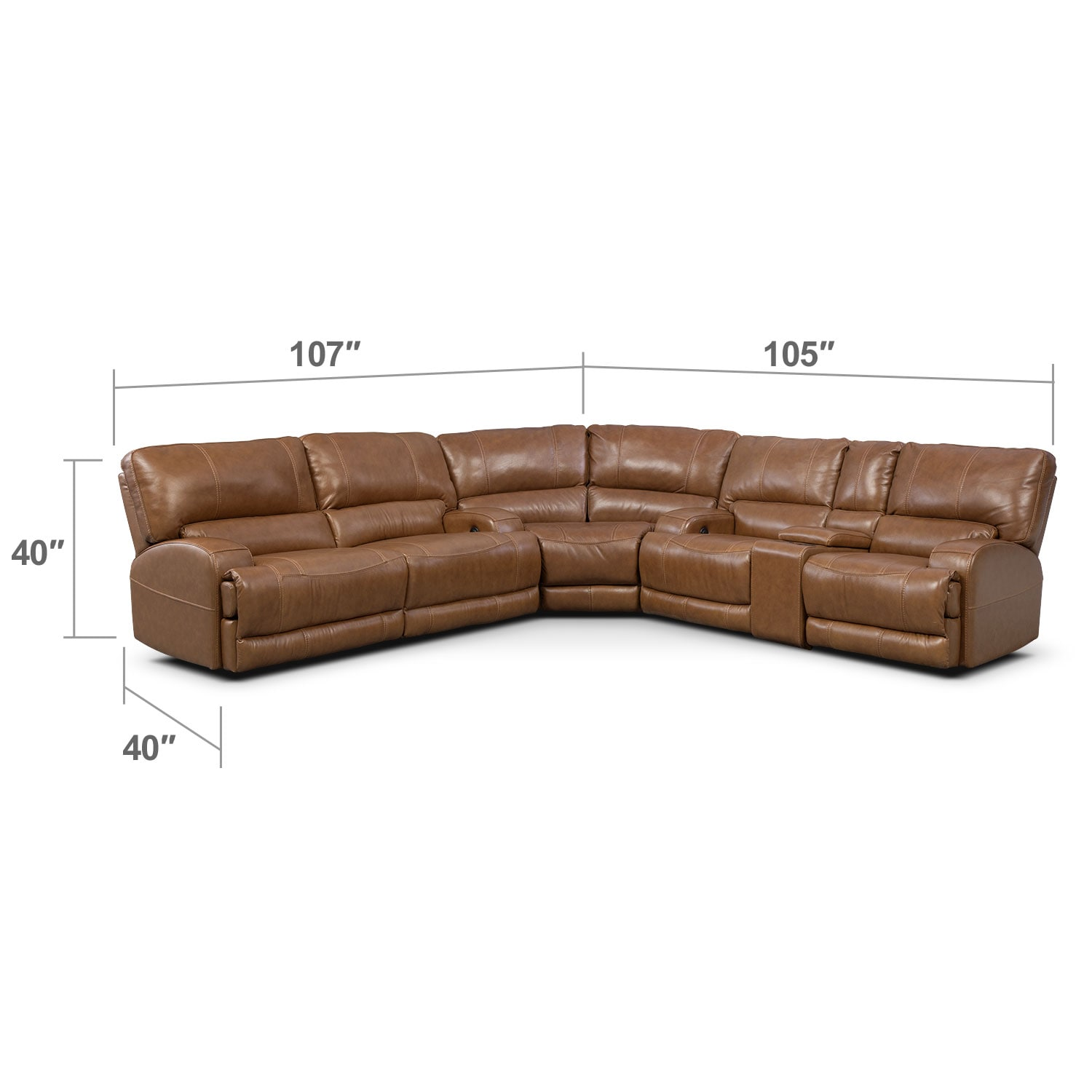 Living Room Furniture - Barton 3-Piece Power Reclining Sectional with 1 Console - Camel