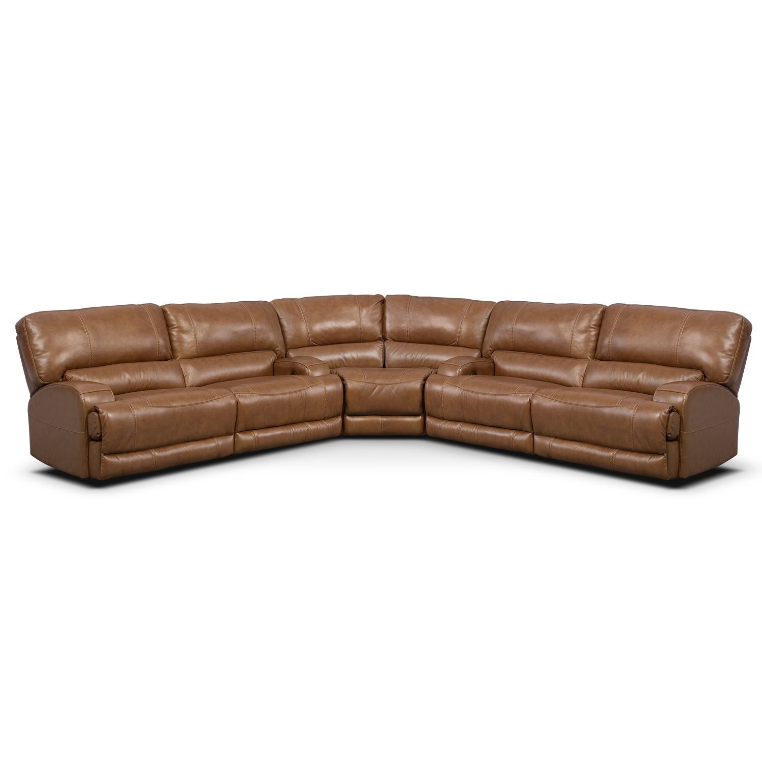 Living Room Furniture - Barton Camel 3 Pc. Power Reclining Sectional