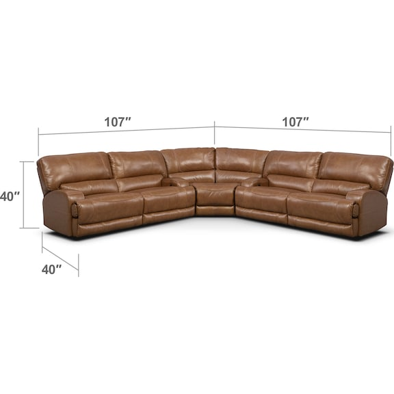 Living Room Furniture - Barton 3-Piece Power Reclining Sectional - Camel