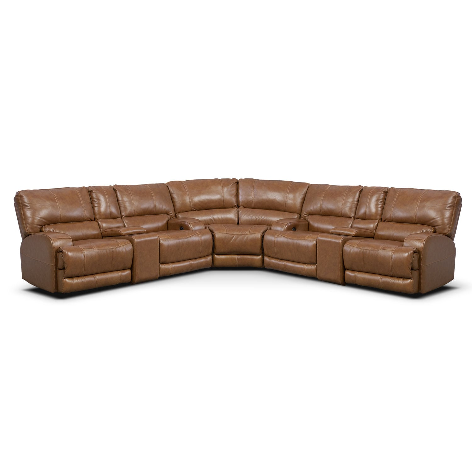 Living Room Furniture - Barton Camel 3 Pc. Power Reclining Sectional with Consoles