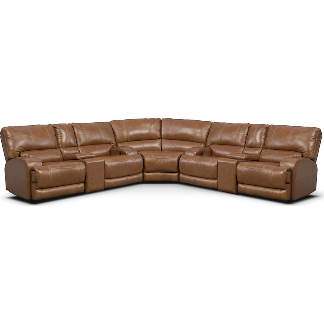 Living Room Furniture - Barton 3-Piece Power Reclining Sectional with 2 Consoles - Camel