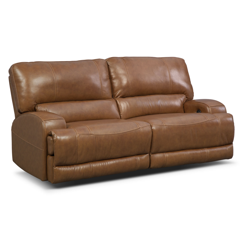 Living Room Furniture - Barton Camel Living Room Power Reclining Sofa