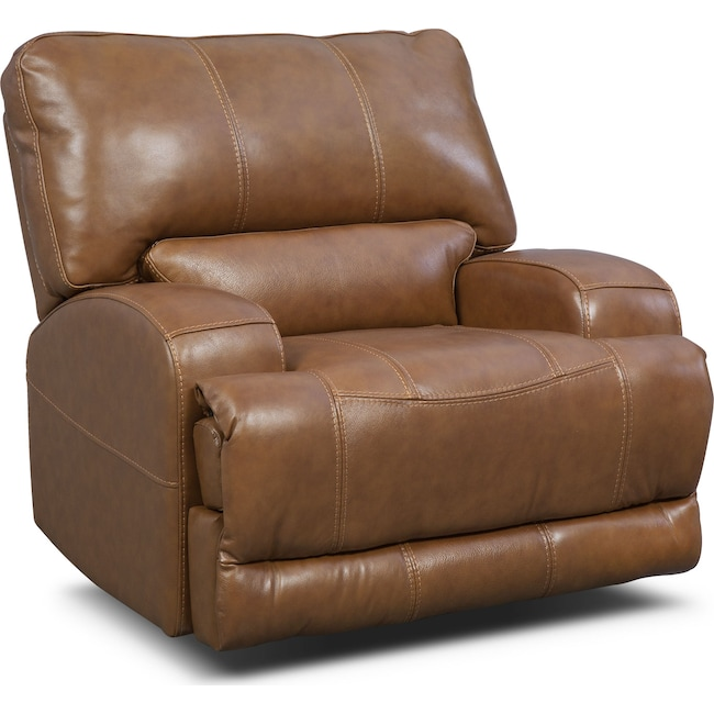Living Room Furniture - Barton Power Recliner - Camel